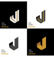 isometric set letter j black white gold palette vector image