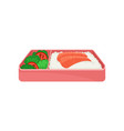 japanese food in pink lunch box on white vector image vector image