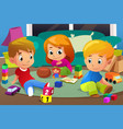 kids playing with their toys vector image