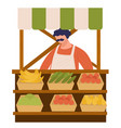 man selling vegetable at farm market veggies vector image
