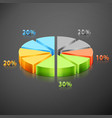 metallic infographics pie graph vector image