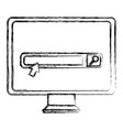 monitor computer with search bar vector image vector image