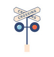 railroad crossing sign and traffic lights isolated vector image vector image