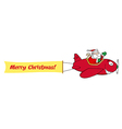 Santa flying plane cartoon vector image vector image