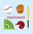 set baseball professional equipment to game vector image vector image