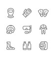 set line icons of diving vector image vector image