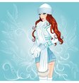sexy winter girl standing sideways vector image