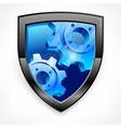 Shield with blue gear on white vector image vector image