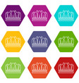 snow crown icons set 9 vector image vector image