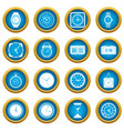 time and clock icons blue circle set vector image vector image