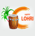 traditional decorated drum and sugarcane vector image vector image