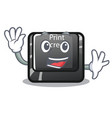 waving button print screen in shape mascot vector image