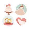 wedding with marriage symbols vector image vector image