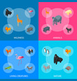 wild animals 3d banner set isometric view vector image vector image