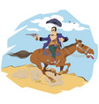 wild west world cowboy on horse funny people vector image vector image
