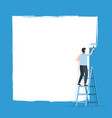 worker on ladder paints a wall space for text vector image