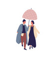 young casual cartoon couple walking under umbrella vector image