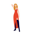 young lady wearing a red slit dress on a white vector image vector image