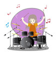 young boy playing drum set happy love music vector image