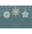 Retro Christmas background with white snowflakes vector image