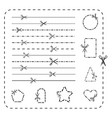 scissors cutout line icons dashed and vector image