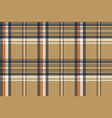 beige plaid tartan diagonal seamless fabric vector image vector image