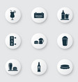 beverages icons set with rum lunch cocktail and vector image