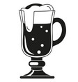 black and white fancy beer glass silhouette vector image