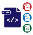 blue html file document download html button icon vector image vector image