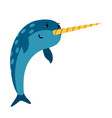 blue narwhal sea animal icon vector image