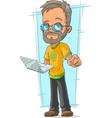 Cartoon bearded programmer in glasses vector image vector image