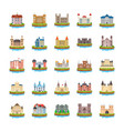 castle flat icons vector image vector image