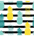colorful pineapples on black stripes repeat vector image vector image