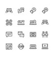 communication smart technologies icon set in thin vector image