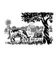 cow on background rustic landscape vector image