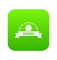 cupcake icon green vector image vector image