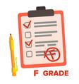 f grade fail exam mark isolated flat vector image