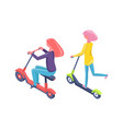 females on scooter and bike eco transport vector image