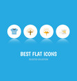 flat icon cotton set of knitting flower fluffy vector image vector image