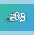 flat line design new years vector image vector image
