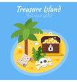 flat style of treasure Island and map vector image vector image