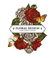 floral bouquet design with colored great orange vector image
