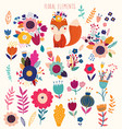 floral elements and cute fox vector image vector image