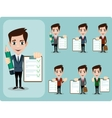 Friendly businessman leaning against contract vector image