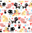 funny pattern lovers cats vector image vector image