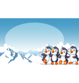 funny penguins cartoon with snow mountain vector image vector image