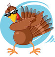 funny turkey ready for celebration cartoon vector image vector image