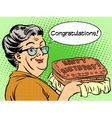 Grandma wishes a happy birthday cake vector image vector image