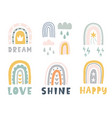 hand drawn cute rainbows doodles set vector image