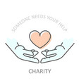 hands holding heart - charity or philanthropy vector image vector image